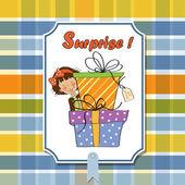 Girl hidden behind boxes of gifts. — Stock Vector