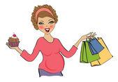 Pregnant woman at shopping — Stock vektor