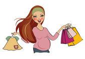 Mulher grávida no shopping — Vetor de Stock