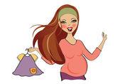 Mujer embarazada en las compras — Vector de stock