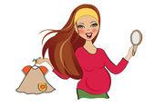 Pregnant woman at shopping — Stock Vector