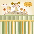 Vector de stock : Happy little girl background