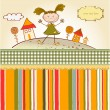 Happy little girl background — Stock Vector
