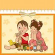 Stock Vector: Girl and boy plays with toys