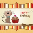 Birthday card with a cat cake — Stock Vector