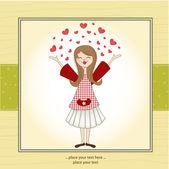 Pretty girl in love — Stock Vector