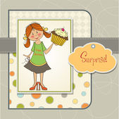 Girl and cup cake card — Stock Vector