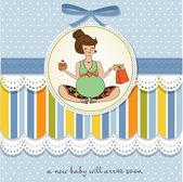 Baby shower invitation with pregnant — Stockvektor