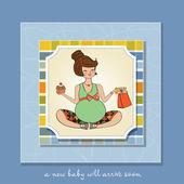 Baby shower uitnodiging met zwangere — Stockvector