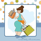 Baby shower invitation with pregnant — Stock Vector