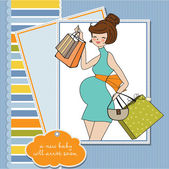 Baby shower invitation with pregnant — ストックベクタ