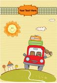 乘汽车旅行的女人 — 图库矢量图片
