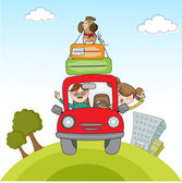 Traveling by the car — Stock Vector