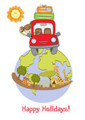 Woman traveling by car — Stock Vector