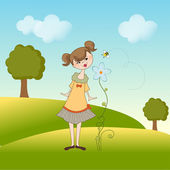 Lady smells a flower — Stock Vector