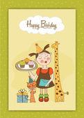 Zadowolony urodziny karty z zabawna dziewczyna, zwierzęta i babeczki — Wektor stockowy