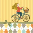 Happy girl on bike — Stock Vector