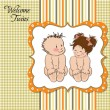 Baby twins shower card — Stock Vector #39115885