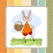Easter bunny with a basket — Stock Vector
