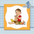 Stock Vector: Little boy are playing