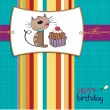 Birthday card with a cat cake — Stock Vector #39117097