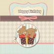 Card with teddy bear and big gift box — Stock Vector