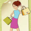 Girl at shopping — Vector de stock #39117883