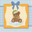 Baby greeting card with sleepy teddy bear — Stock Vector