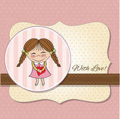 Funny girl with hearts — Stock Vector