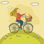 Glad flicka på cykel — Stockvektor