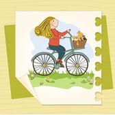Gelukkig meisje op fiets — Stockvector