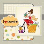 Alışveriş kadın — Stok Vektör