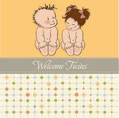 Baby tweeling douche kaart — Stockvector