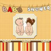 Baby zwillinge dusche karte — Stockvektor