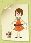 Fille heureuse avec chien mignon — Vecteur