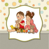Girl and boy plays with toys — Stock Vector