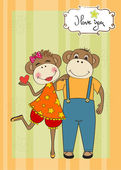 Opice pár v lásce — Stock vektor