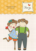 Apen verliefde paar — Stockvector