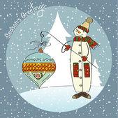Snowman with big Christmas ball — Stockvektor