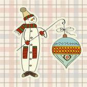Snowman with big Christmas ball — Stock Vector