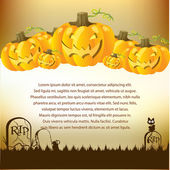Halloween Illustration with Pumpkins — Stock Vector