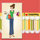 Lady at shopping — Stock Vector