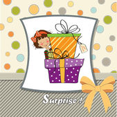 Girl boxes of gifts. — Stock Vector