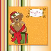 Baby shower card with cute teddy bear — Stock Vector