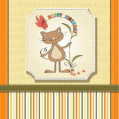 Birthday card with funny cat — Stock Vector
