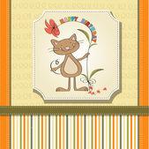 Carta di compleanno, con divertente gatto — Vettoriale Stock