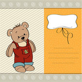 Baby shower card with teddy bear toy — Stock Vector
