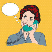 Popart comic retro woman talking by phone — Photo