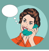 Popart comic retro woman talking by phone — Stockfoto