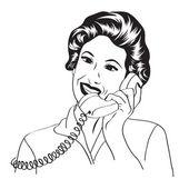 Telefonla konuşurken popart komik, retro kadın — Stok fotoğraf